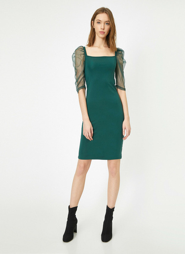Koton Tül Detayli Elbise Yeşil